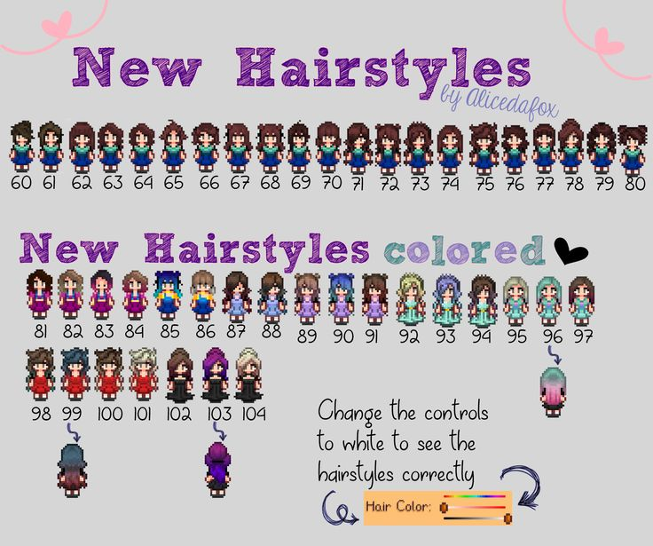 Hairstyles recolored and a new Hairstyle Update at Stardew Valley Nexus - Mods and community