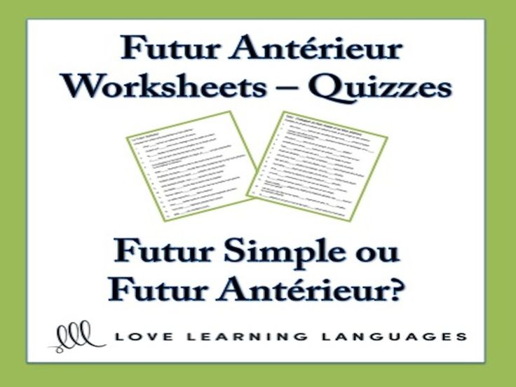 Two things are very important when teaching the French futur antérieur tense. First, students need to know how this tense is formed and then they need to understand how and when to use it. Here is a set of two worksheets that can also be used as homework ...