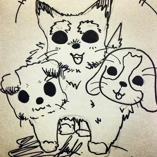 Cerberus (hell's 3 headed dog). Since i hv 3 dogs so i'm using their heads for thing