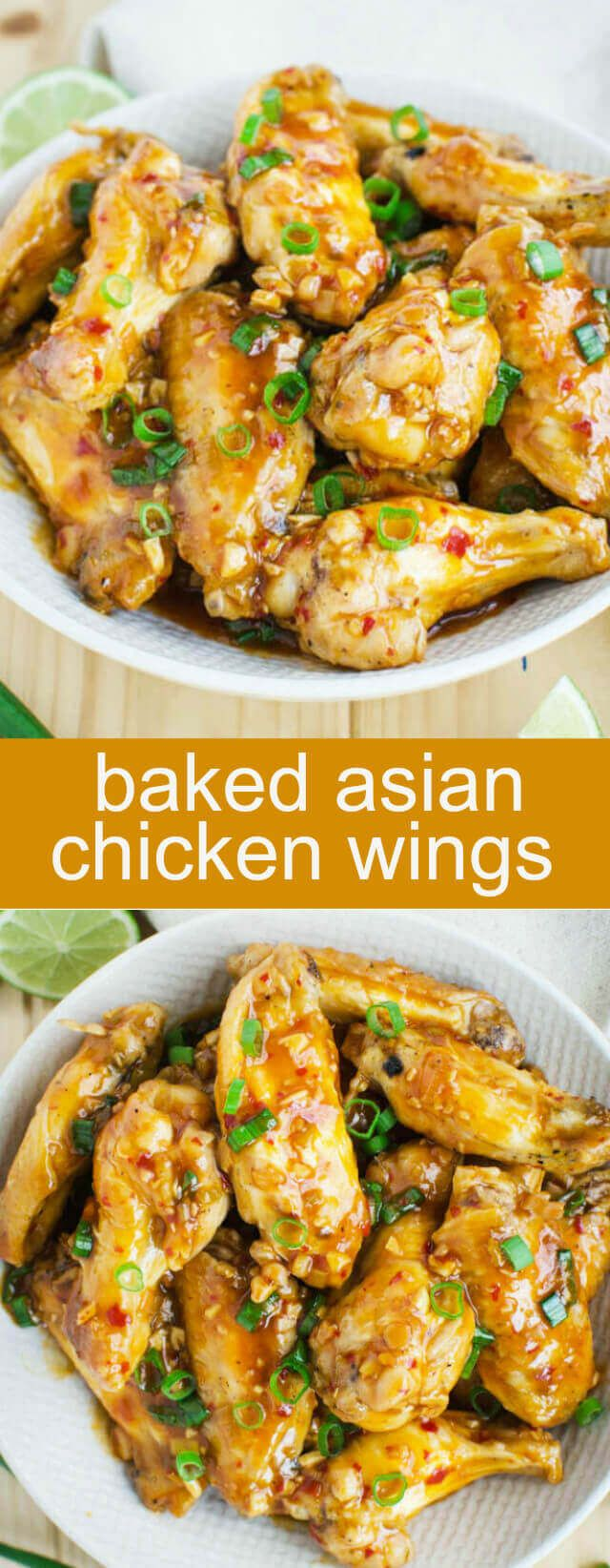 Baked Asian Chicken Wings {A Fun Tangy Appetizer} baked/ chicken/ wings Baked Asian Chicken Wings Recipe - Amazing chicken wings that are baked in an oven and coated with sweet savory and tangy Asian sauce. via @tastesoflizzyt