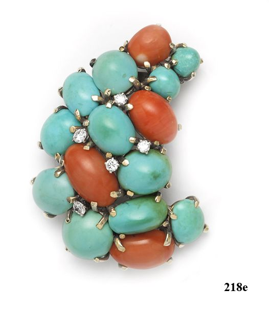 Turquoise, Coral, Diamond, Gold, Brooch at Nelson Rarities,Inc. Portland, Maine