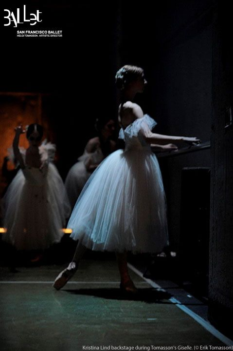 Kristina Lind warming up for a performance of Giselle.