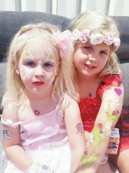 Beautiful sisters, butterfly & lady birds :)