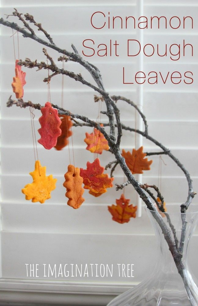Make some salt dough leaf ornaments using scened cinnamon salt dough and leaf cutters. A lovely activity for kids to make into decorations for Autumn or Fall
