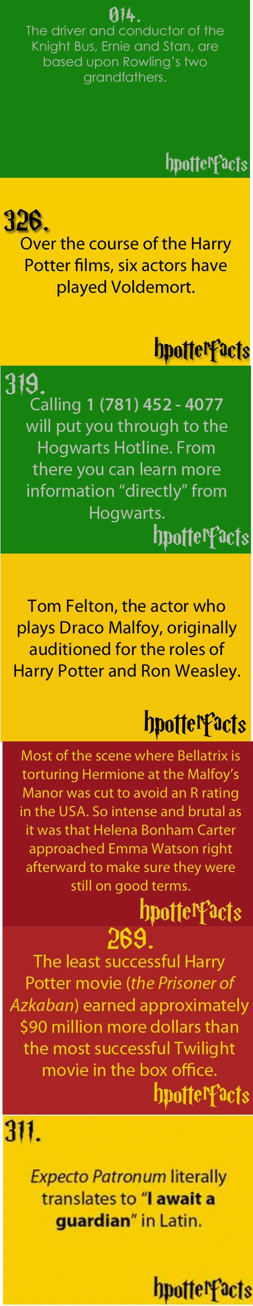 HP Facts, yeah except Ralph Fines played Voldermort in all of the films