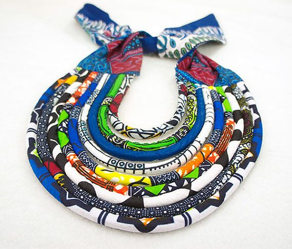 African Bib Necklace Maasai Necklace Ankara by ETurnerCouture