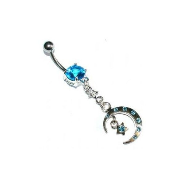 Crescent Moon & Star baumeln Bauch Piercing Bar ($ 7.98)   – Tattoos/piercings