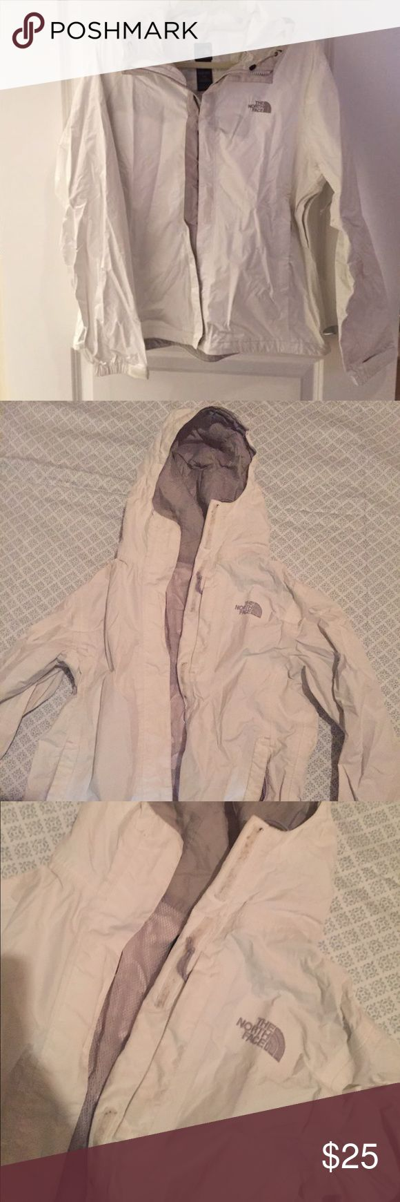 North face women's rain jacket size S White North Face women's rain jacket size small. One tiny spot on the back as shown in photo. Some spots on the velcro not seen when jacket is done up. Great for spring! North Face Jackets & Coats Utility Jackets