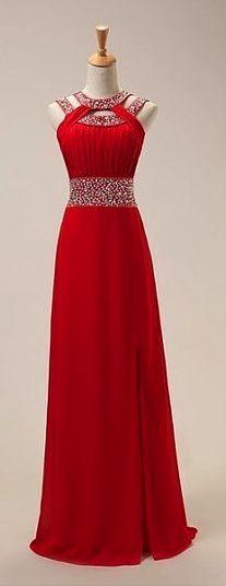 Fashion Red Chiffon Front Split Long Prom Dress