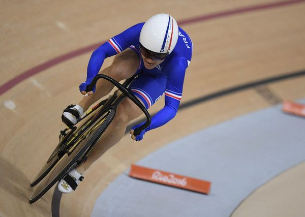 France's Sandie Clair competes in the Women's sprint qualifying track cycling…