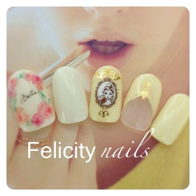 美女と野獣のベル♡神戸Felicity nailsアメブロやってます(^^) #キャラクター #イエロー #デート #ジェルネイル #ハンド #サンプルチップ #ゆみっぴー #ネイルブック