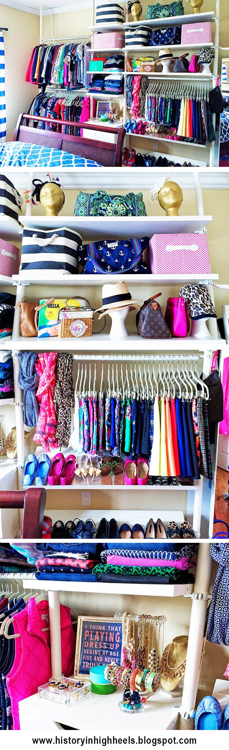 No closet space? No problem! Turn any wall into a giant boutique closet with the Ikea Stoleman system. http://historyinhighheels.blogspot.com/2014/09/apartment-therapy-closet-tour.html