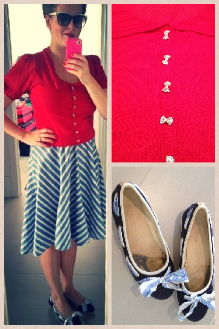 Day 30: nautical chic: old dress, Alannah Hill cardi and boat shoes.