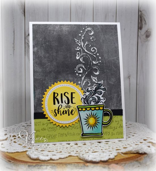 Handmade coffee card by Julee Tilman using the Rise and Shine digital set from Verve. #vervestamps #spring2017clh