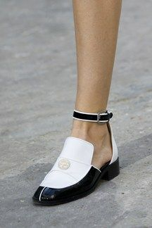 Chanel S/S 2015 two-tone ankle strap flats #shoes