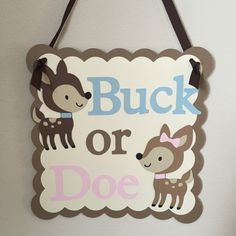 Gender Reveal Sign, Buck or Doe, Gender Reveal Party, Buck or Doe Door Sign by ThePaperPropShop on Etsy
