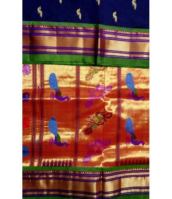 Blue Pure Handloom Paithani Silk Saree
