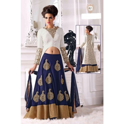 Shop White And Blue Embroidered Bhagalpuri Silk Lehenga by Gopinath Collection online. Largest collection of Latest Lehangas online. ✻ 100% Genuine Products ✻ Easy Returns ✻ Timely Delivery