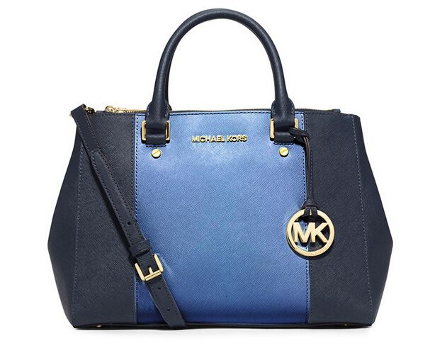 Michael Kors Large Color-Block Leather Satchel Sapphire And Blue