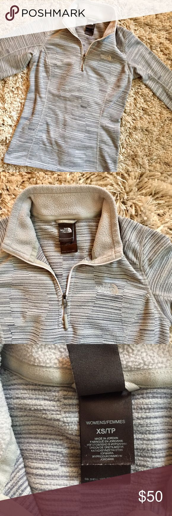 North Face Half Zip, Size XS + Light and dark gray pattern  + 100% polyester  + Great for fall 🍁🍂 + Don't forget to bundle!   ⭐️All items are steamed cleaned and shipped within 48 hours of your purchase.   ⭐️If you would like any additional photos or have any questions please let me know.  ⭐️Sorry, no trades. But will listen to ALL fair offers. Thanks for shopping! North Face Sweaters