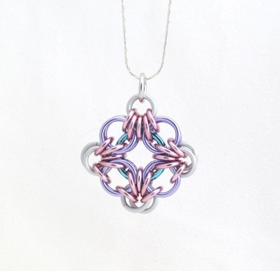 Chain Maille Pendant Jump Ring Jewelry Pastel by XairianMaille, $17.00