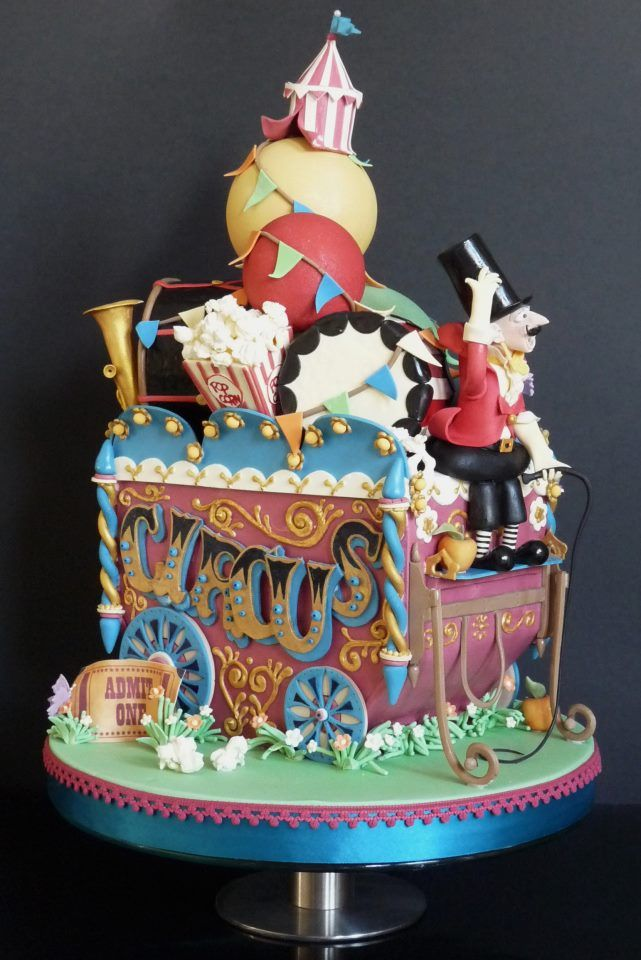 Circus wagon cake, perfect for a carnival wedding