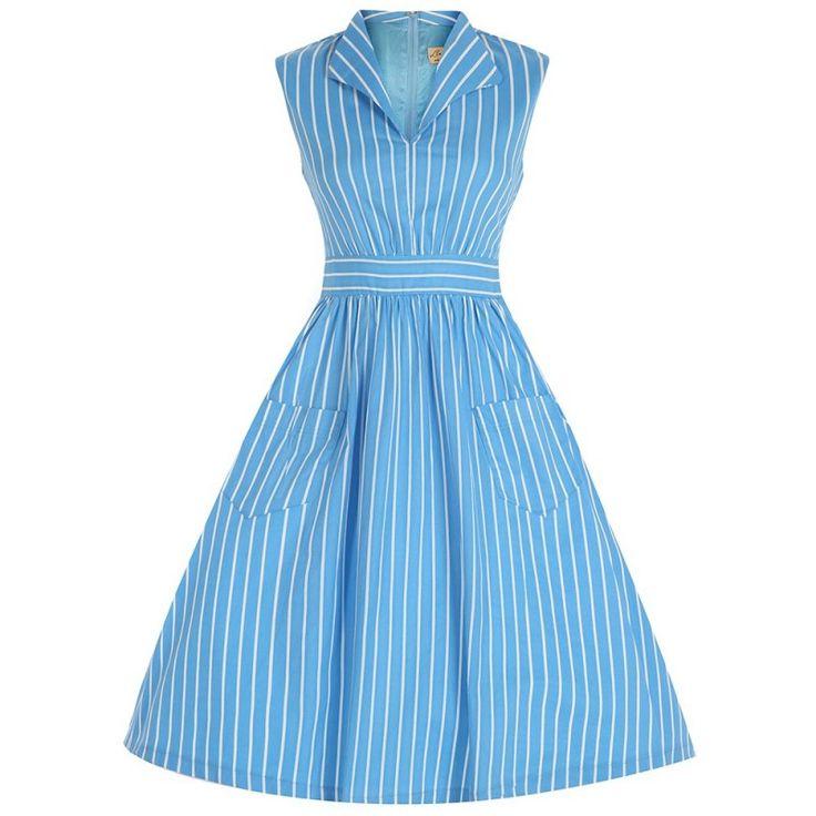 Modré Retro Šaty Blanka Straka Lindy Bop