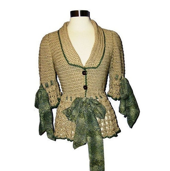 Handmade Zoey  Custom Size Hand Crocheted Jacket in by AnnieBriggs, $225.00  Total Head turner