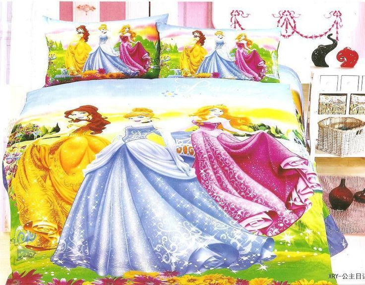 Yellow Blue Princess bedding sets Children's Girl's bedroom decor single twin size bed sheets quilt duvet covers 3pcs no filler #Affiliate