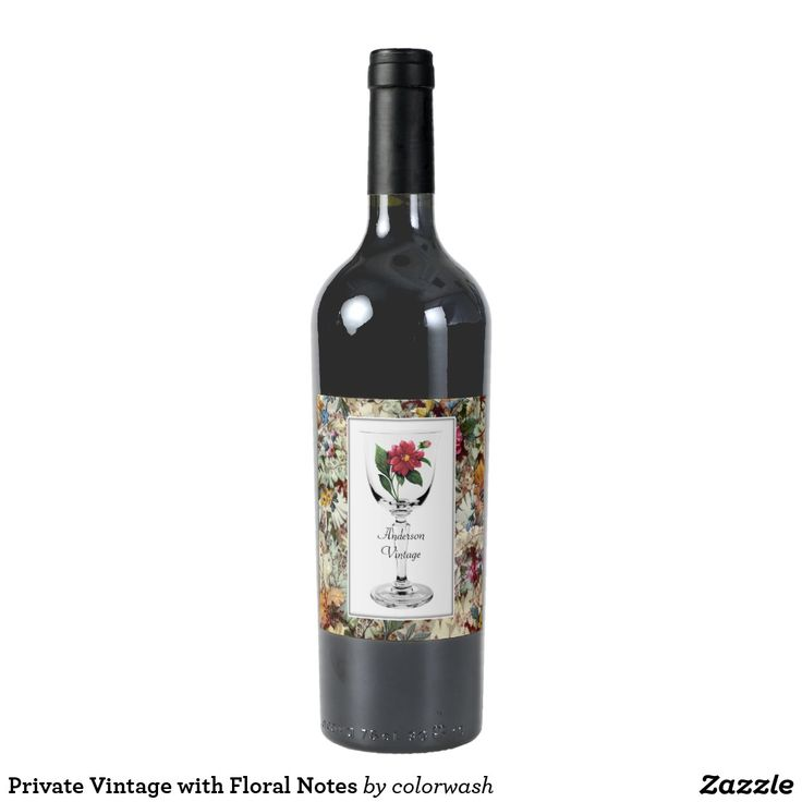 wine wedding shower gift poem%0A Private Vintage with Floral Notes Wine Label