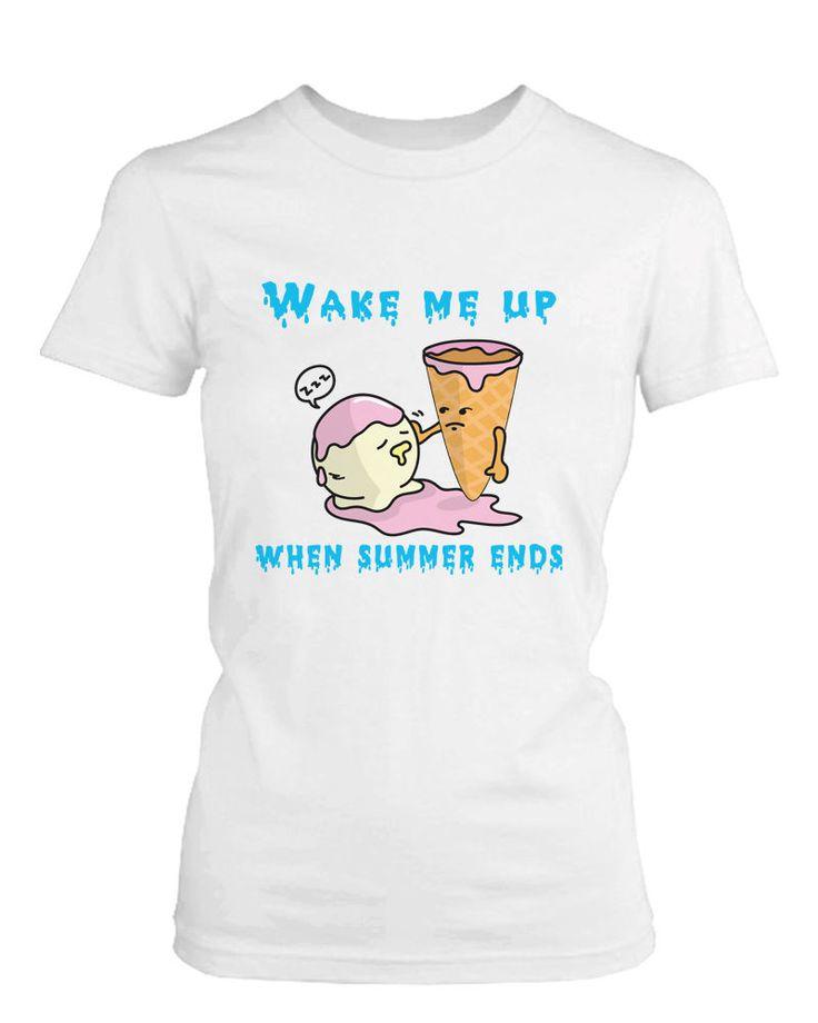 Wake Me Up When Summer Ends Ice Cream Women's T Shirt Humorous Summer White Tee