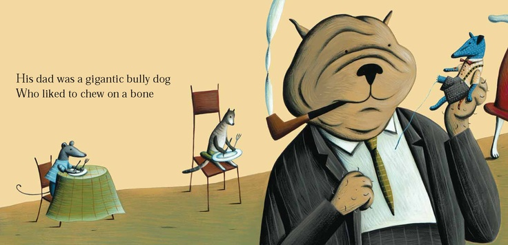 One little blue doggy and his dad. Illustration by Marie Lafrance.