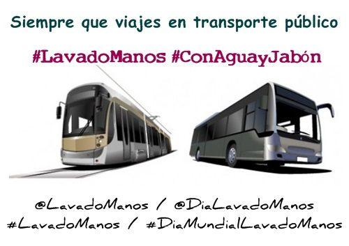 Cuando uses transporte público para ir al trabajo y volver a casa realiza #LavadoManos #ConAguayJabón ¡después de usarlo!