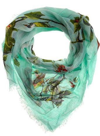 Aqua bird print scarf