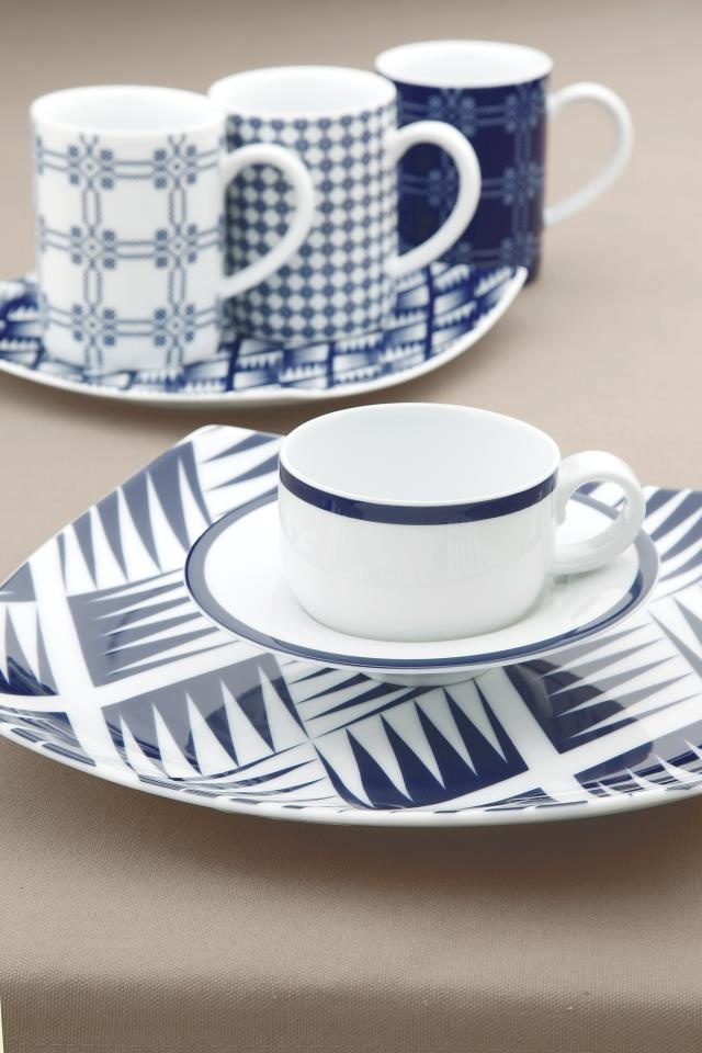 Mediterranean blue mugs.