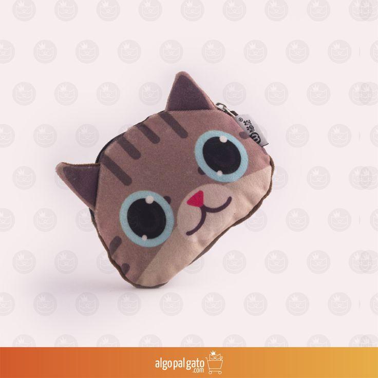 Nombre: Monedero Gato Bengala Talla: Pequeño Color: Café