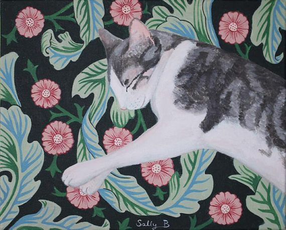 Folk Art Portrait White Gray Sleeping Cat Wall Print Naive