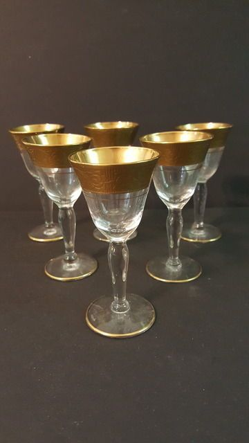 Antique Tiffin Ramblin Rose Gold Optic Rimmed 6 pc Mini Cordial Sherry Glasses #Tiffin #ArtNouveau