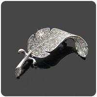 Joyería coreana niza moda Vintage Silver Plated Rhinestone Leaf Pin de la broche broches SH002