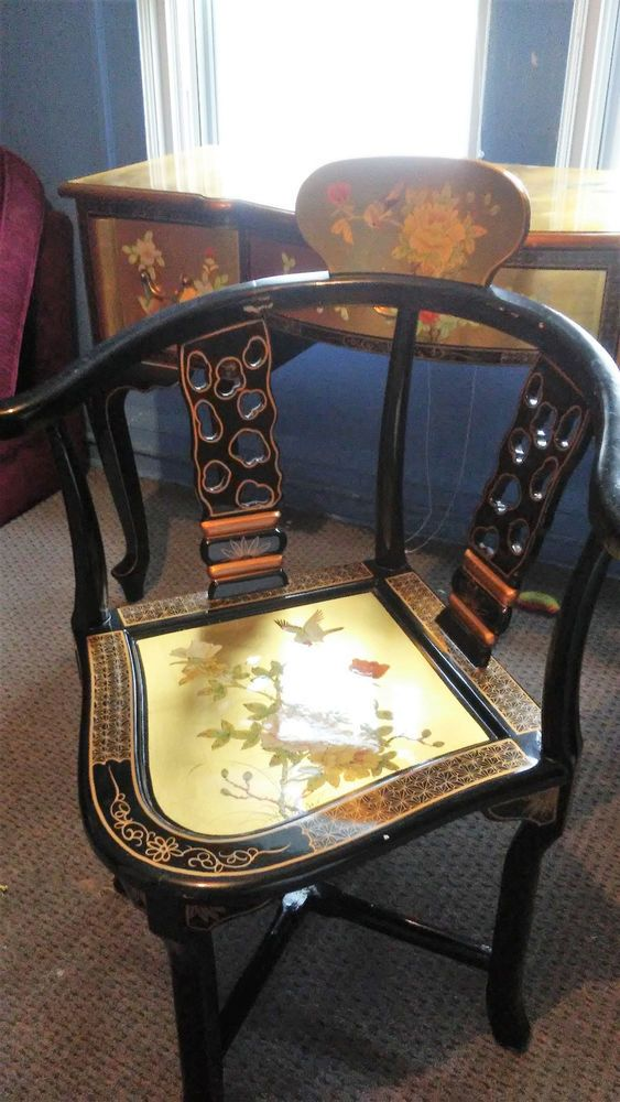 EXQUISITE! Vintage Gold Gilt Chinioserie Asian Desk and matching Chair #HollywoodRegency #Unknown