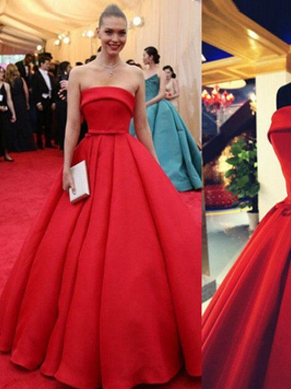 Red Long Prom Dress Strapless A-line Cute Bowknot Prom Dress/Evening Dress MK600