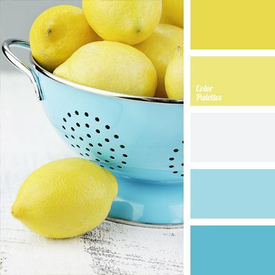 Delicate pale and intense bright tones of the two opposite colors in terms of warmth - blue and yellow – go together very harmoniously due to neutral white.
