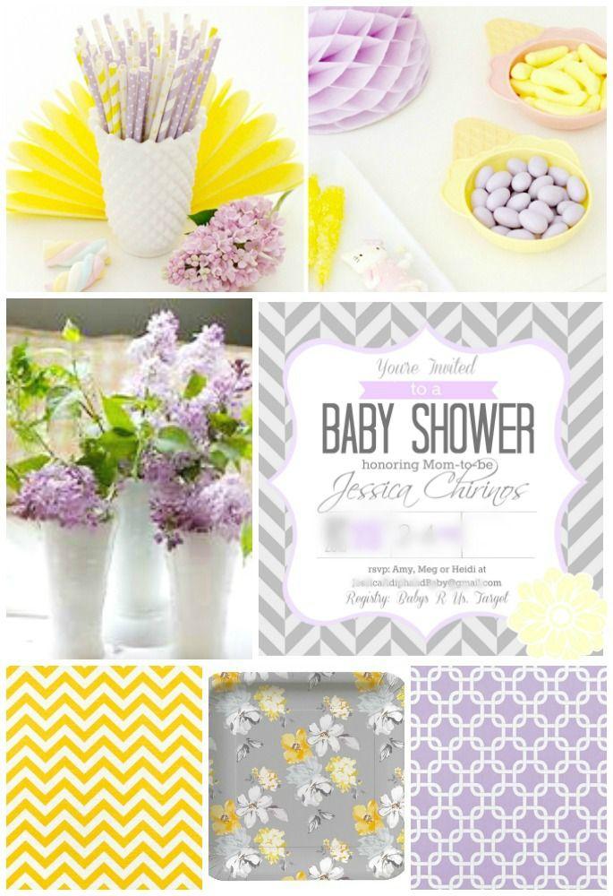 Jessicas Baby Shower Partyspiration Board - blurred #babyshower #lavenderandyellow