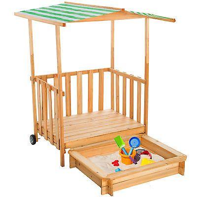 zandbak speelhuisje speelveranda hout zonnebescherming zandbak + dak deksel