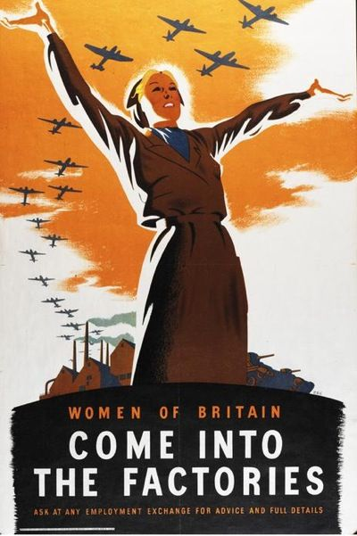 """Women in Britain come into the factories. Ask at any employment exchange for advice and full details."" Published in 1941 by the British Ministry of Information. Artwork by Donald Zec. - WWII propaganda poster Great Britain (UK), women war workers"