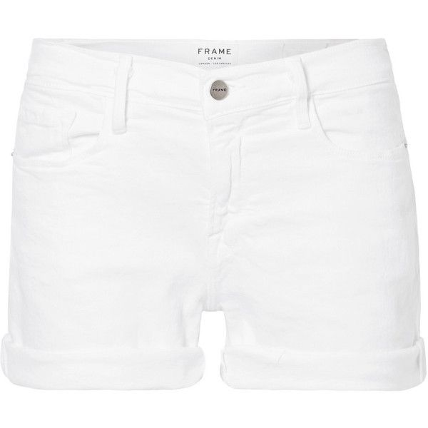 FRAME Le Cutoff denim shorts ($180) ❤ liked on Polyvore featuring shorts, white, white denim shorts, denim cut-off shorts, cut-off jean shorts, white jean shorts and cut-off shorts