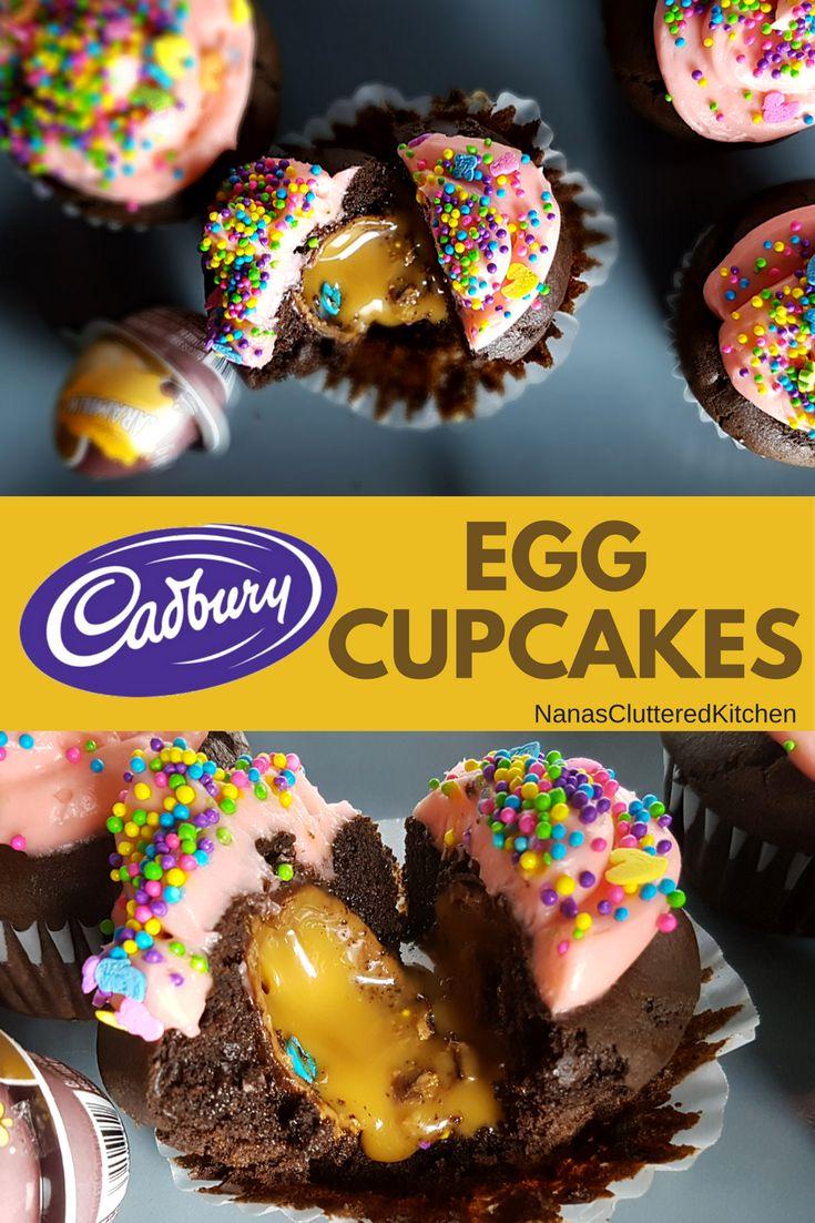 Cadbury Egg Cupcakes (filled with Creme, Caramilk, Chips Ahoy and Oreo eggs)