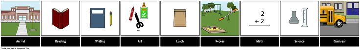 A schedule board is an outline of the daily events of the day. They typically have a simple picture symbol to represent each step. Text of the activity or event will also usually accompany the picture symbol as a way to reinforce written language.  Here is an example of a schedule board for a student's school day.