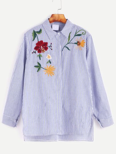 Blue Striped Flower Embroidered Slit Side High Low Shirt