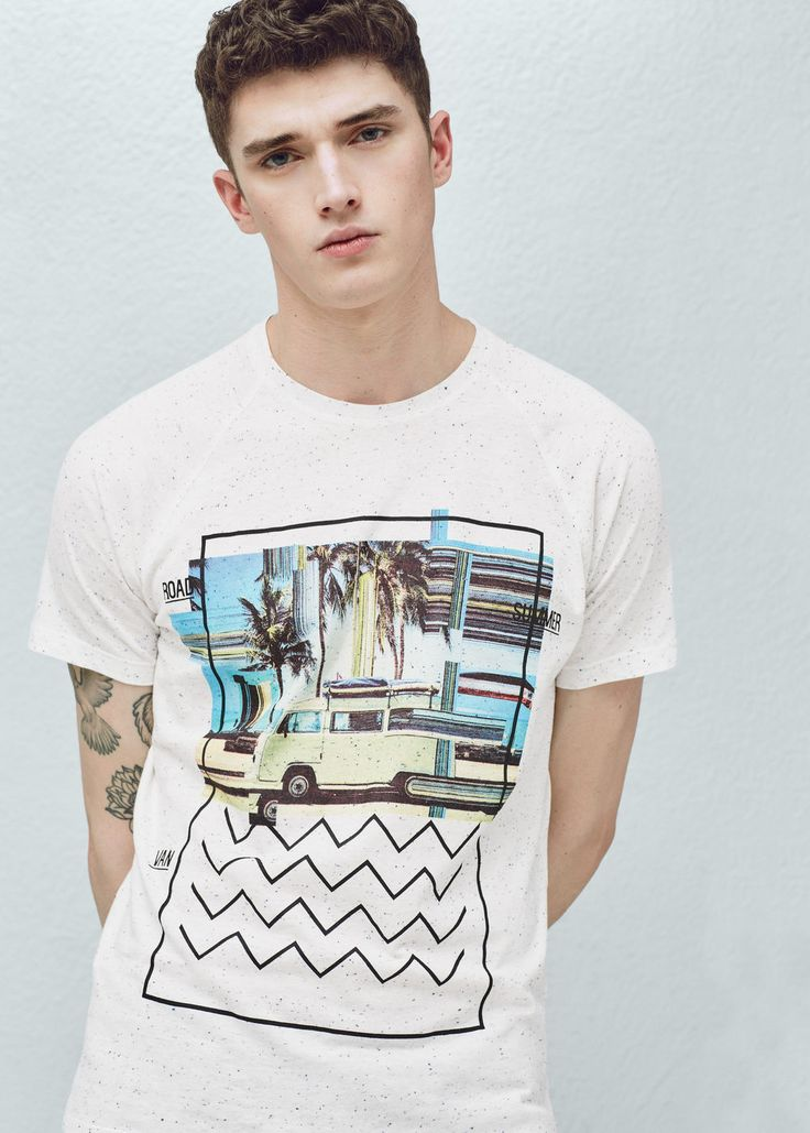 T-shirt algodão estampada   MANGO MAN